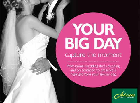 johnsons cleaners point of sale wedding campaign posters in store pure creative marketing