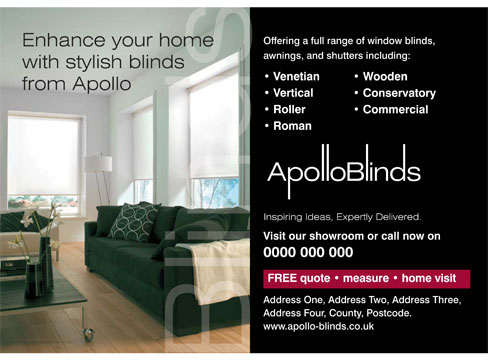 Press Advertising Apollo Blinds Pure Creative